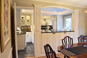 breakfast bar storage, dining to kitchen transition