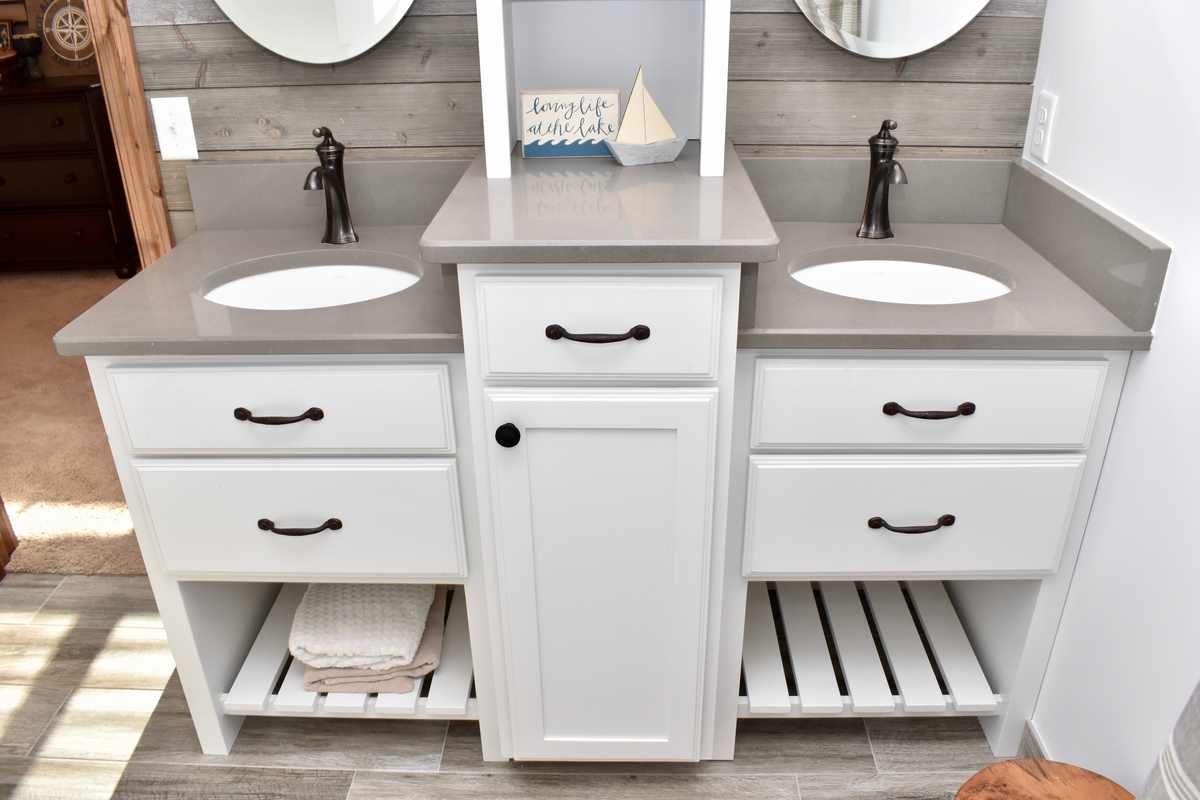 5-drawer vanity system with tower, oil-rubbed bronze hardware
