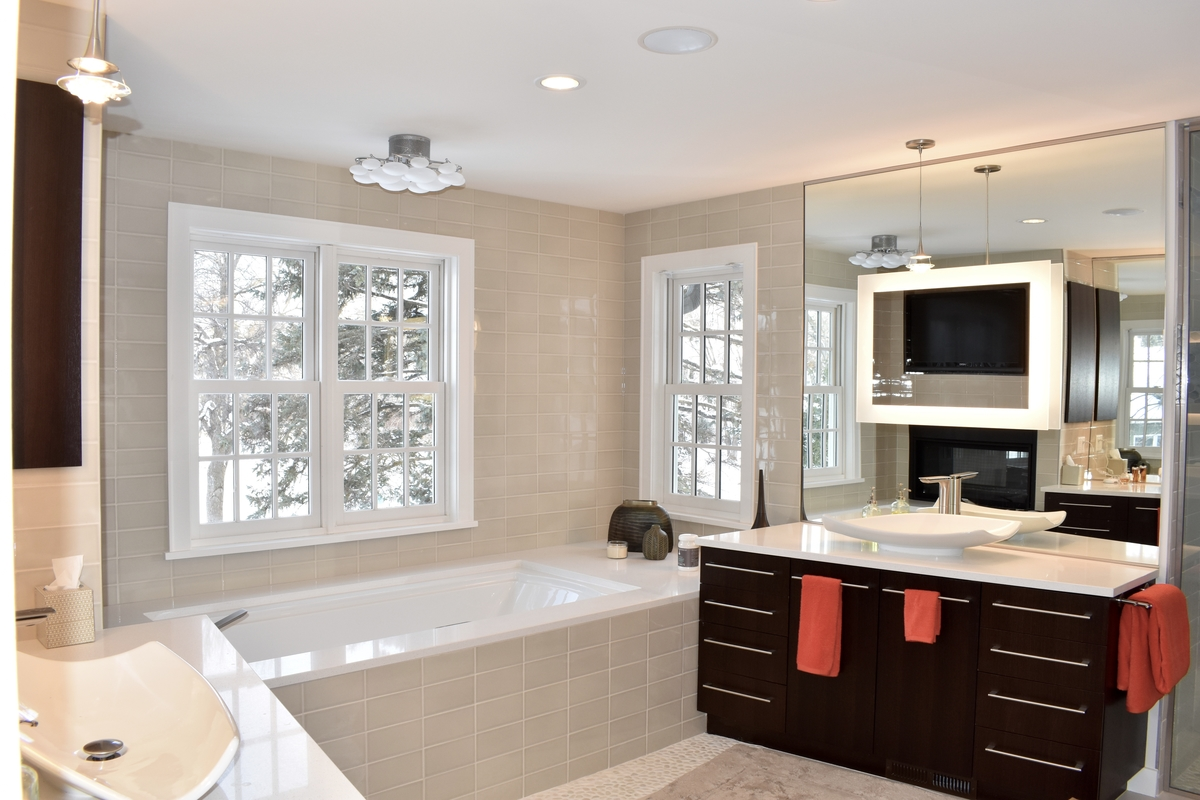 modern warmth master bathroom, double vanity and double mirrors, walk-in shower